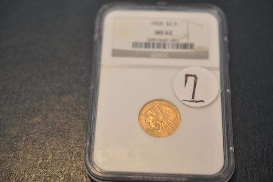 1928 $2.5 MS 62 NGC GRADED GOLD INDIAN HEAD