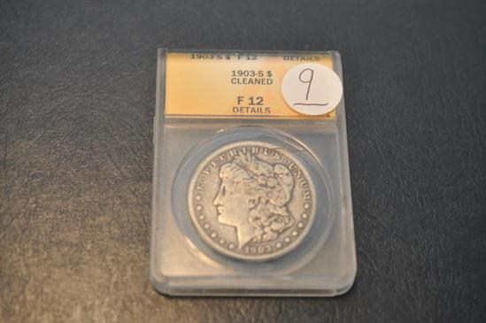 1903-S ANACS F12 CLEANED MORGAN SILVER DOLLAR