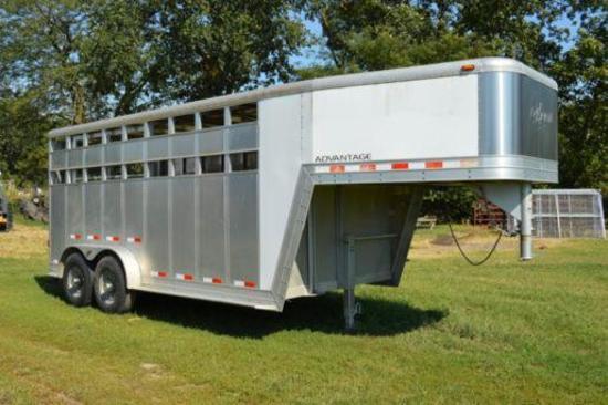 2003 Kiefer 7' x 16' Alum. gooseneck tandem axle livestock trailer