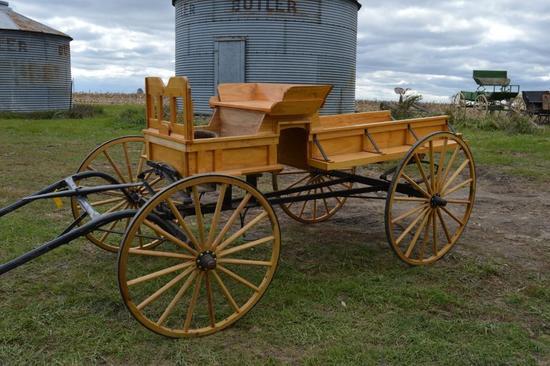 Single-horse buckboard-style wagon