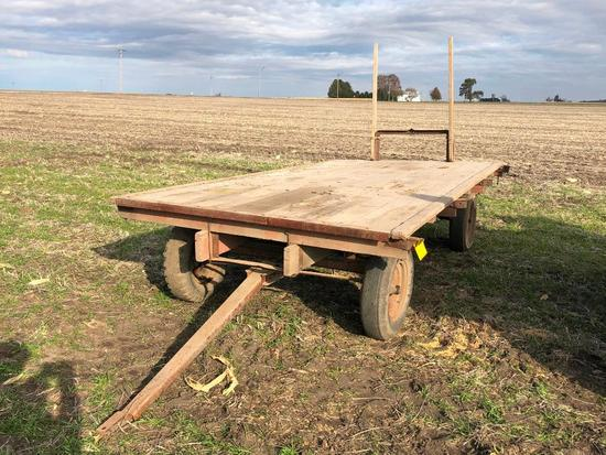 7'x14' wooden hay rack on running gear