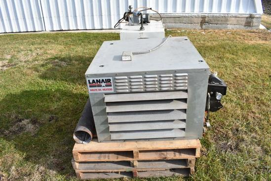 Lanair waste oil heater, 100 gal. supply tank