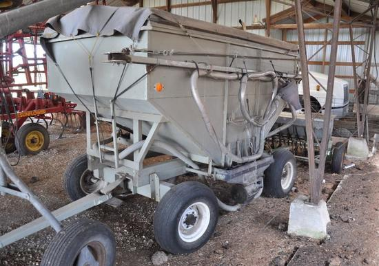Gravity wagon seed blower system