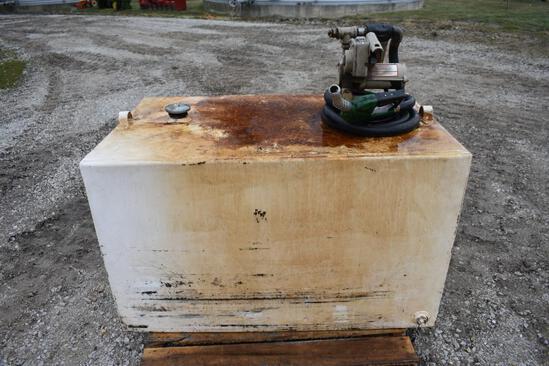 190 gal. fuel transfer tank, 20 GPM pump, auto shutoff nozzle