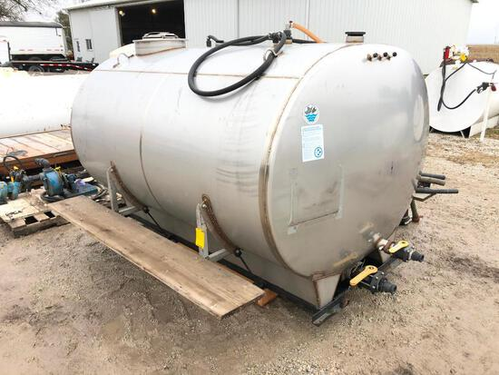 Mid-State Tank Co. 1,200 gal. stainless tank