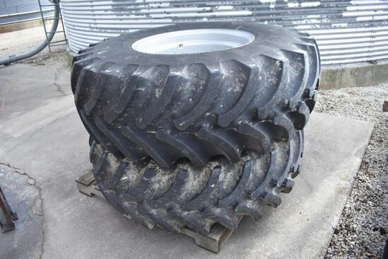 Set of 18.4x26 rear combine tires on Gleaner rims
