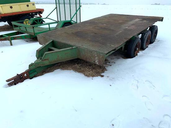 Shop built triple axle flatbed farm trailer - no title
