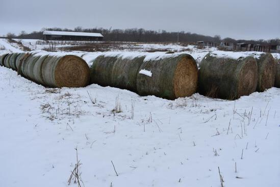 (14) 2019 first cutting grass round bales