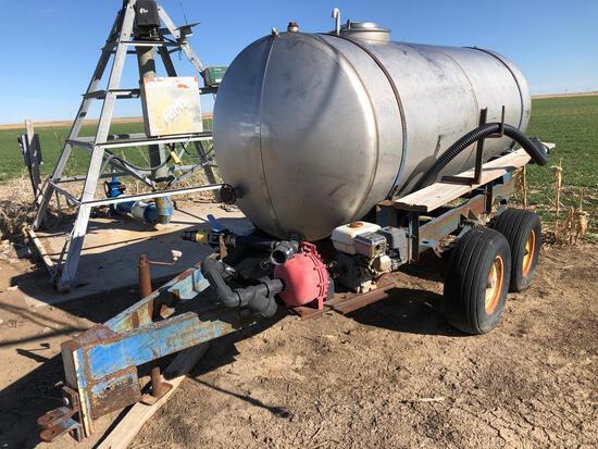 1,000 gal. SS tank on bumper hitch tandem axle trailer
