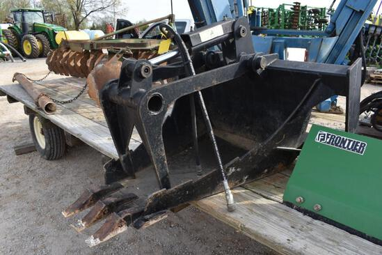 Skid steer mounted stump bucket w/hyd. grapple