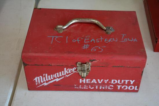 Milwaukee metal box w/ assorted tools
