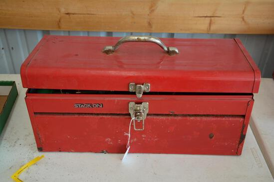 Stack On metal tool box w/ assorted tools