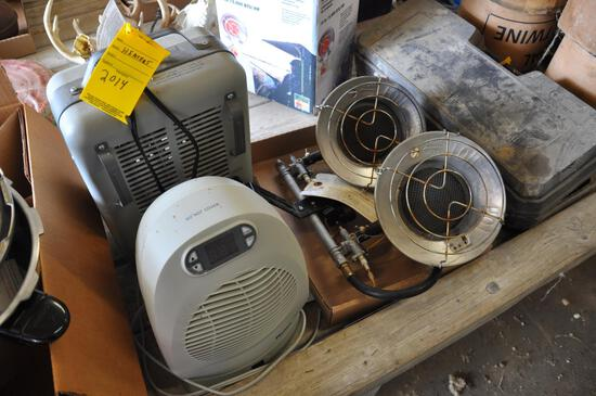 (2) space heaters and (2) propane heaters