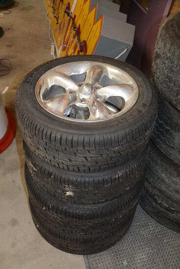 Set of (4) 5 spoke tires and rims