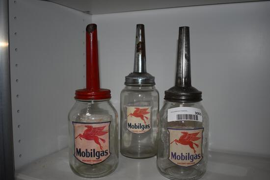 (3) Mobil Gas oil bottles