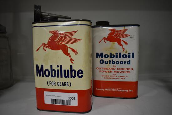 (2) Mobil Oil cans
