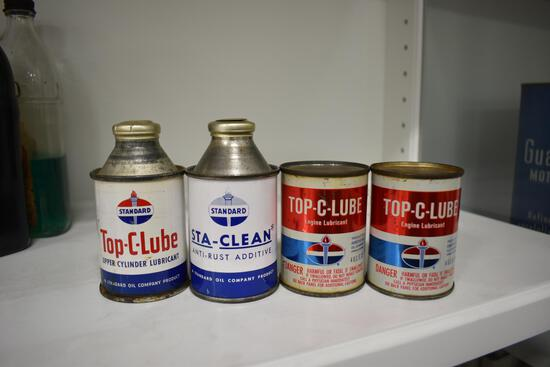 (4) Standard Oil lube cans