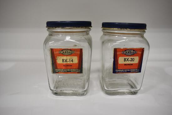 (2) Standard Motor Products glass screw jars