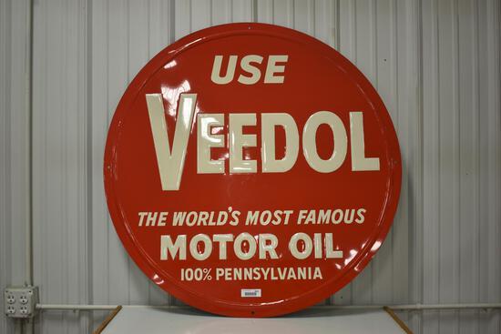 Veedol embossed motor oil metal sign