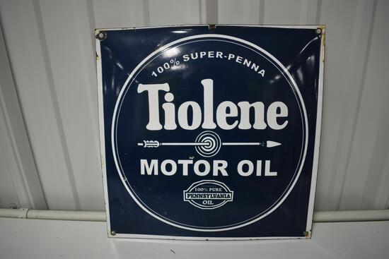 Tiolene Motor Oil porcelain sign