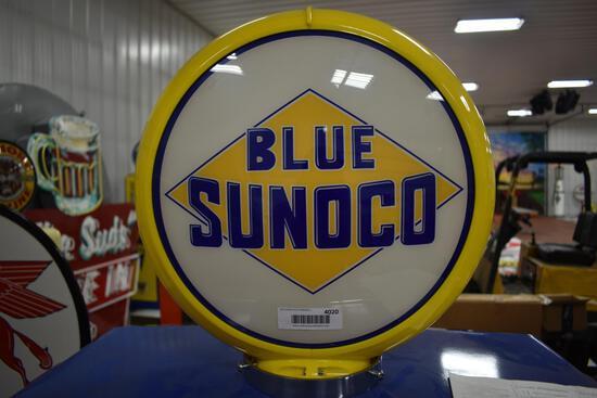Blue Sunoco double-sided globe