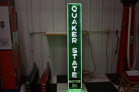 Quaker State motor oil metal neon sign