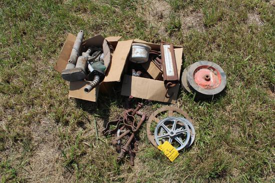 Misc. hardware, pulleys, hanging scales, fuel nozzles, etc.