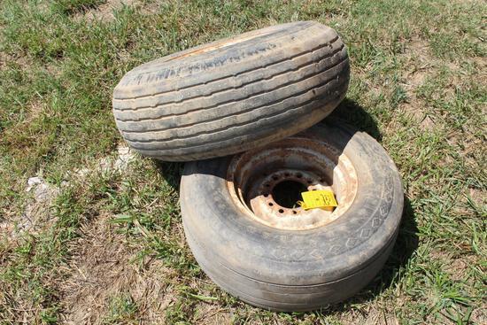 (2) implement tires (1) 10.00-15 & (1) 9.5L-14