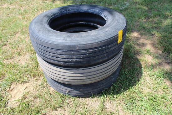 (3) 285-75R24.5 truck tires