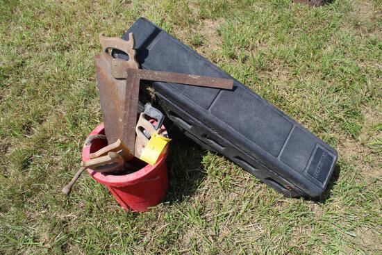 Poly toolbox & bucket of assorted hand tools