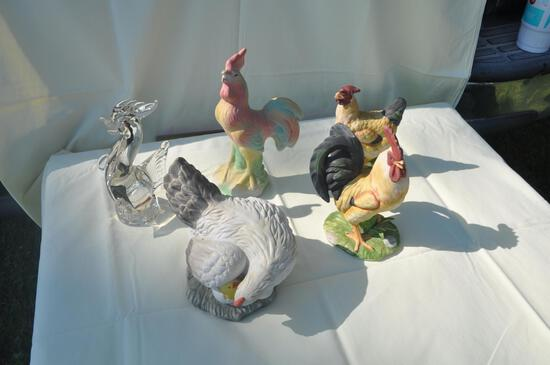 various chicken figurines as pictured