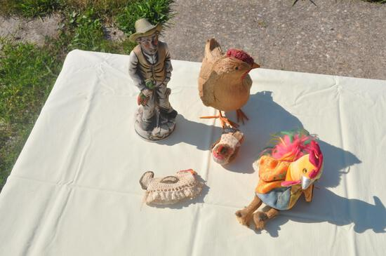 figurines chickens and stuffed animals