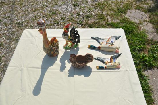 chicken and duck planters and figurines