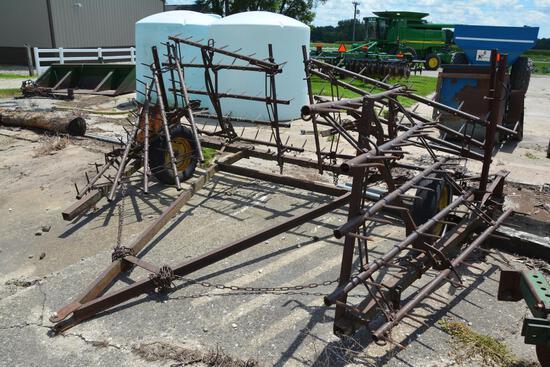 4 section harrow on cart