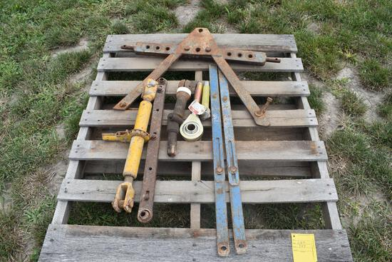 Pallet of misc. parts: PTO adaptors, 3rd link, hitch