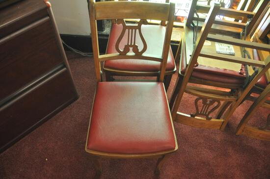 {8} Folding wood chairs with Music Design back