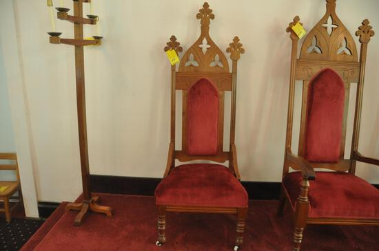 """64"""" wood religious chair, broken piece on top right of chair"""