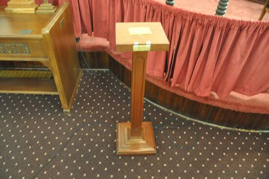 """37"""" tall offering plate wood stand"""