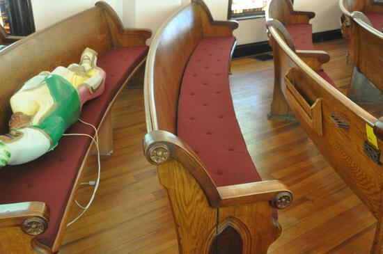 12' Curved Oak Church Pew