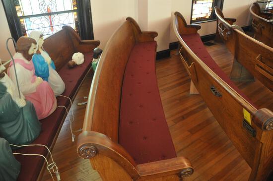10' Curved Oak Church Pew