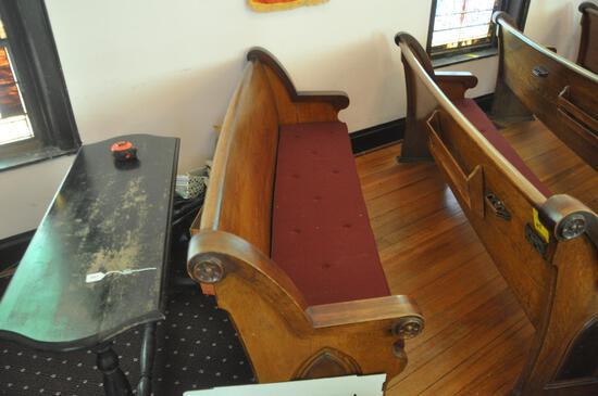 6' Curved Oak Church Pew
