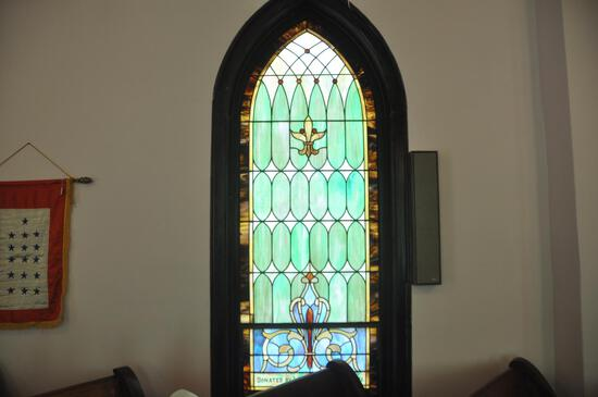 "106"" x 42"" Religious Stained glass window"