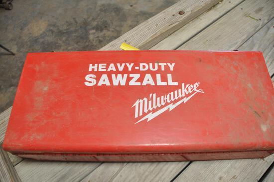 Milwaukee Sawzall with metal box