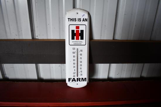 "International Harvester ""This Is An IH Farm"" tin thermometer"