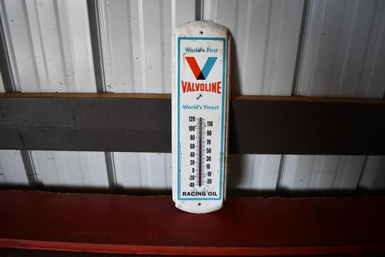 Valvoline World's First World's Finest Racing Oil tin thermometer