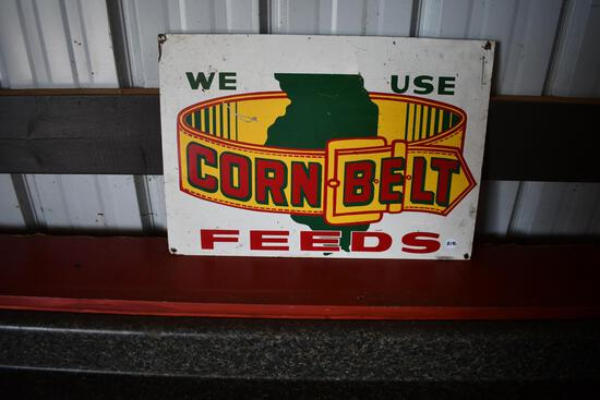 We Use Corn Belt Feeds tin sign