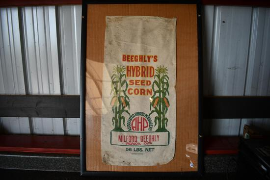 Beeghly's Hybrid Seed Corn cloth seed sack in frame