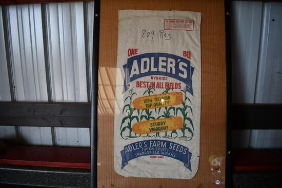 Adler's Hybrids cloth seed sack in frame
