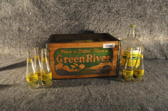 Wooden Green River soda crate