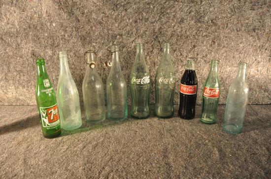 (9) misc. glass soda bottles